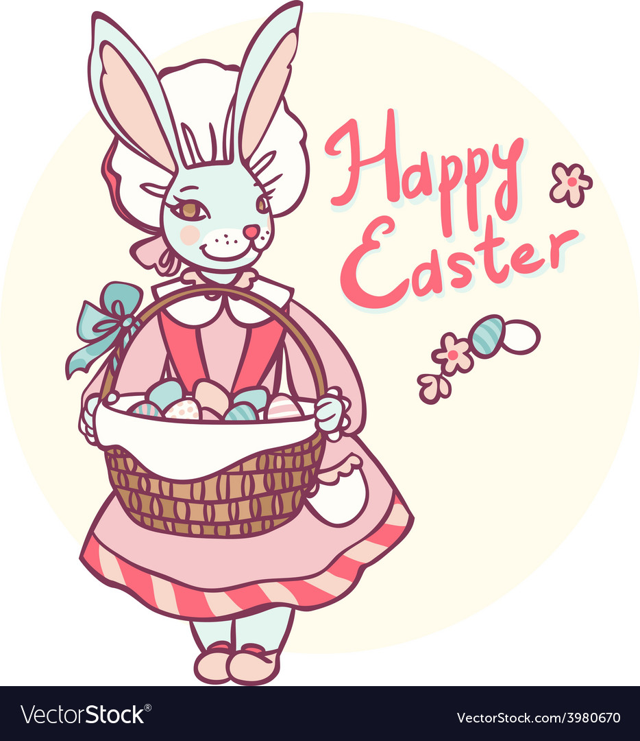 Postcard rabbit holding a basket of easter eggs vector | Price: 1 Credit (USD $1)