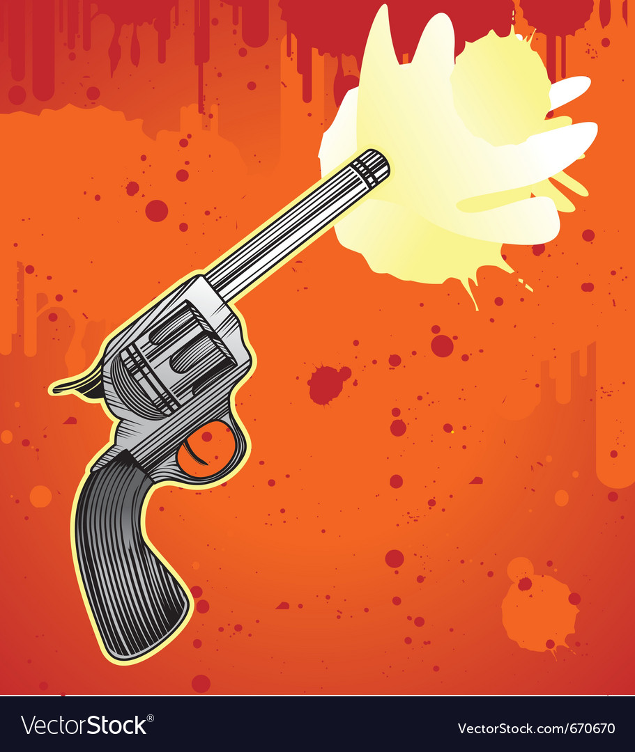 Revolver in engraving style - vector | Price: 1 Credit (USD $1)