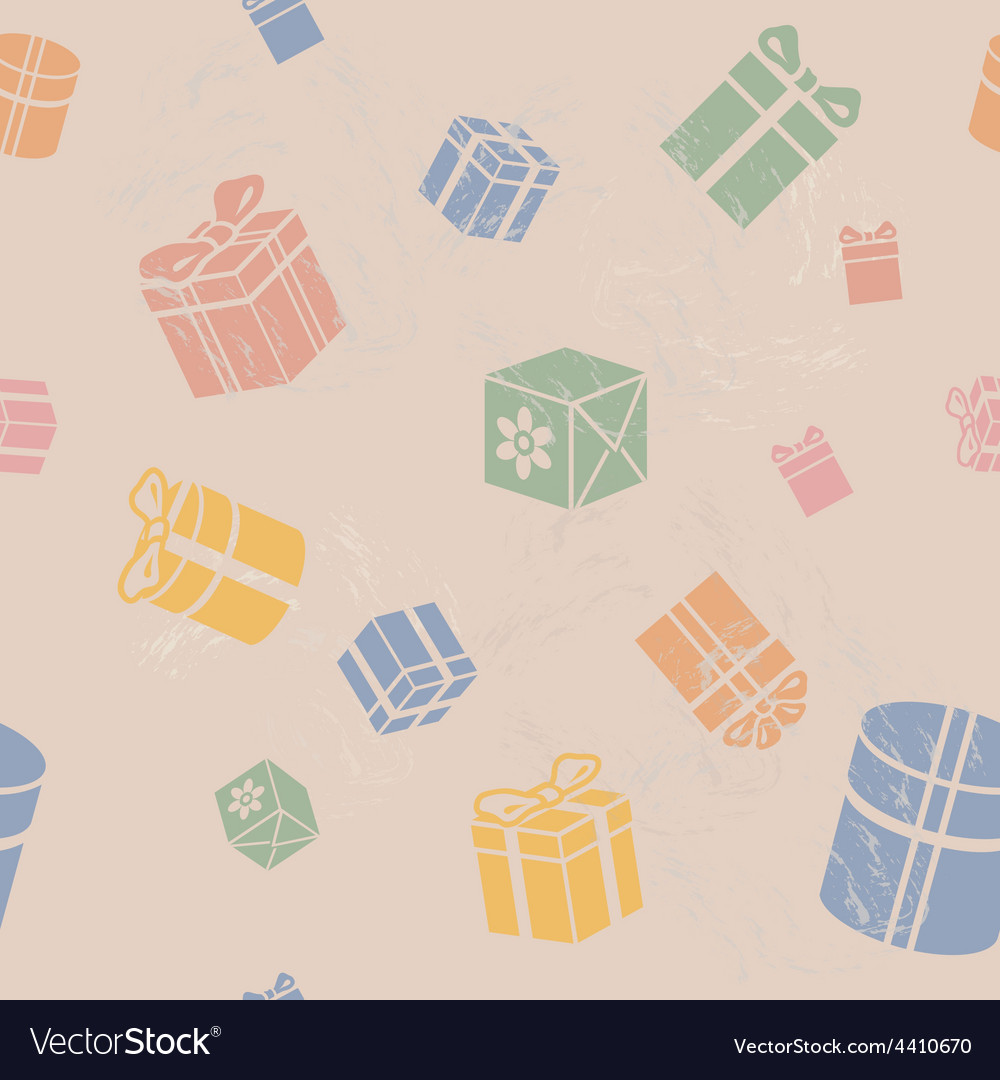 Seamless gift box pattern vintage vector | Price: 1 Credit (USD $1)