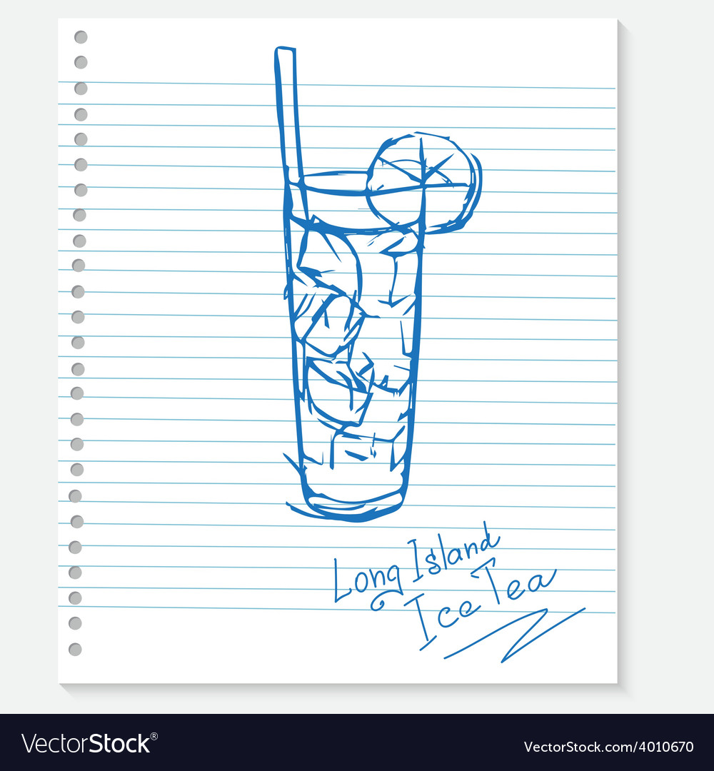 Sketch cocktail on a notebook sheet vector | Price: 1 Credit (USD $1)