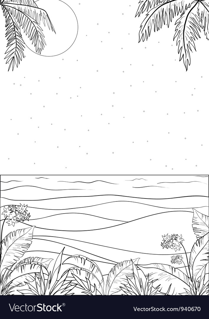 Tropical landscape outline vector | Price: 1 Credit (USD $1)
