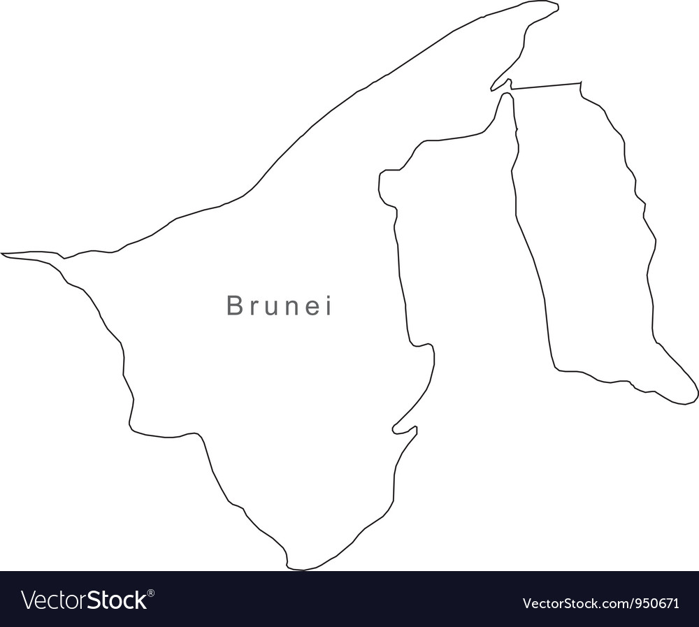 Black white brunei outline map vector | Price: 1 Credit (USD $1)