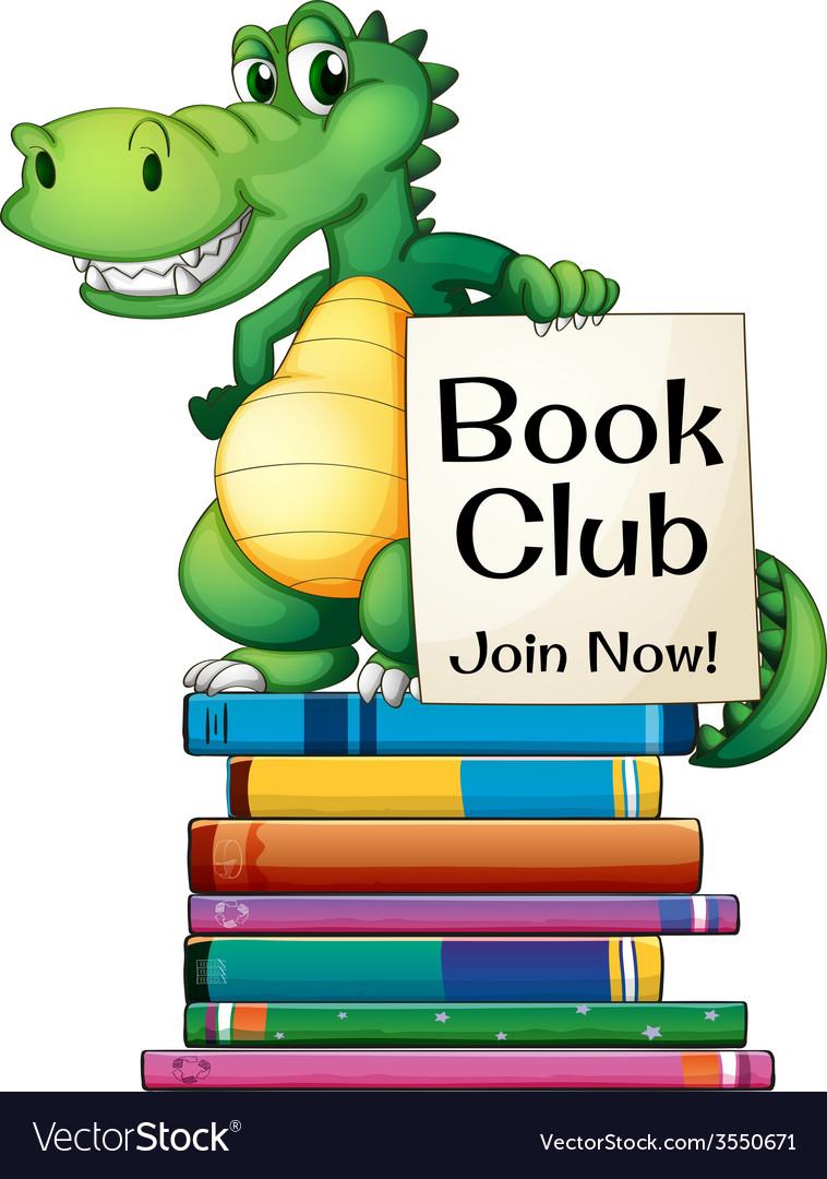 Books and crocodile vector | Price: 3 Credit (USD $3)