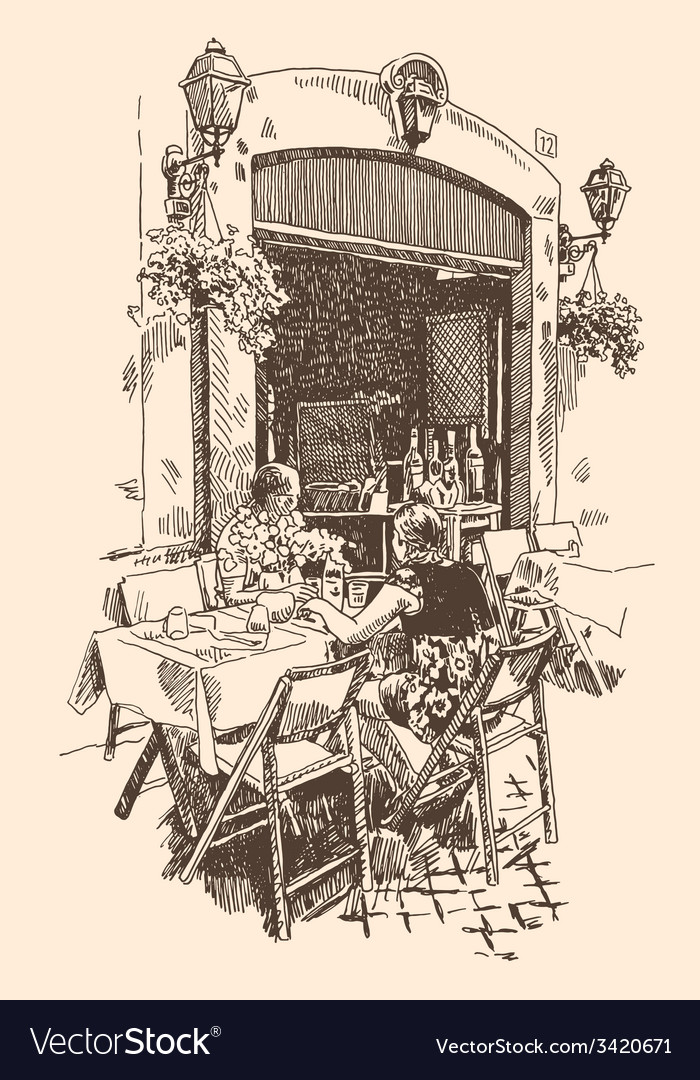Drawing of european street outdoor cafe in rome vector | Price: 3 Credit (USD $3)