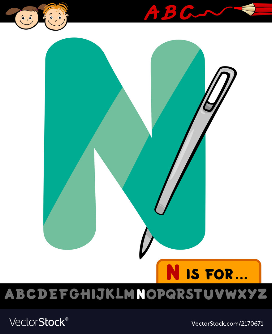 Letter n with needle cartoon vector | Price: 1 Credit (USD $1)