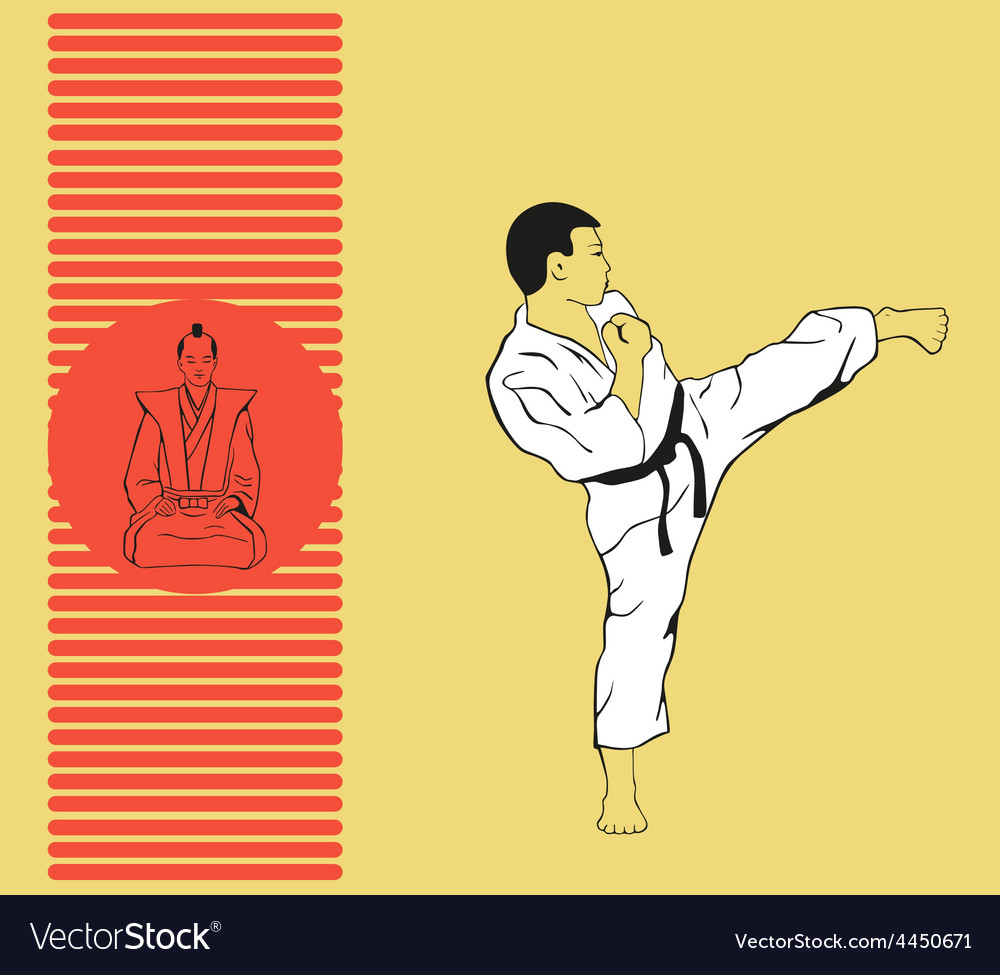 The man shows karate vector | Price: 1 Credit (USD $1)