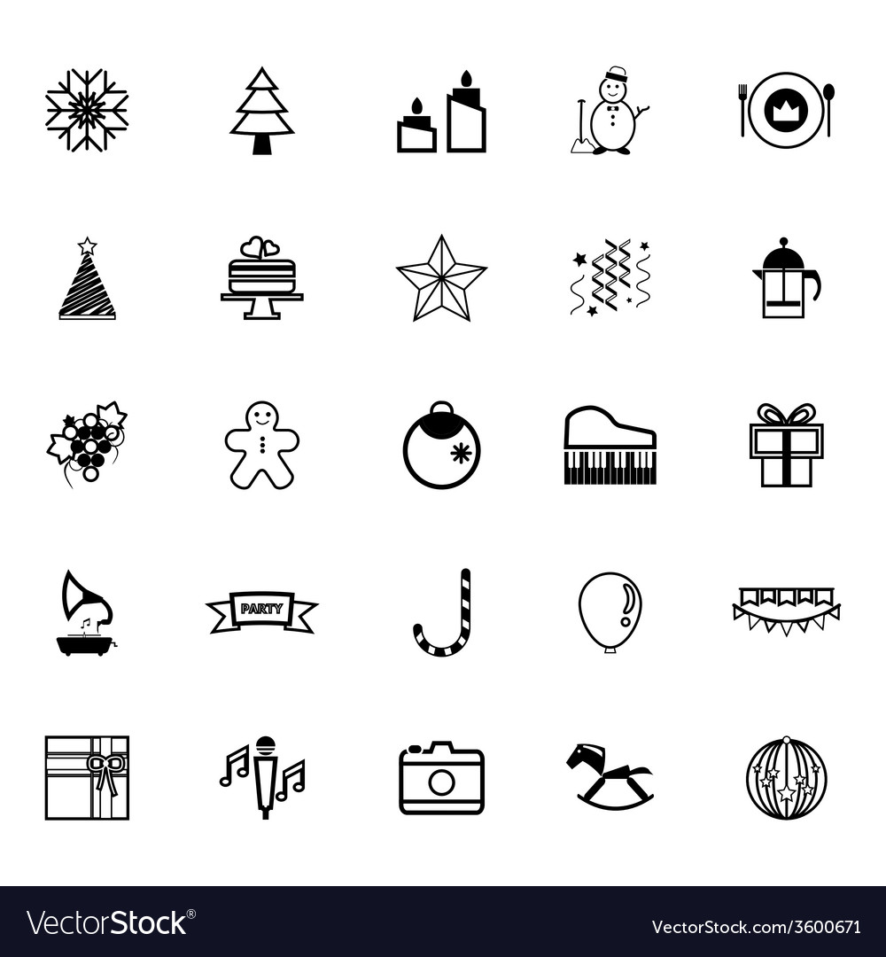 New year and christmas line icons on white vector | Price: 1 Credit (USD $1)