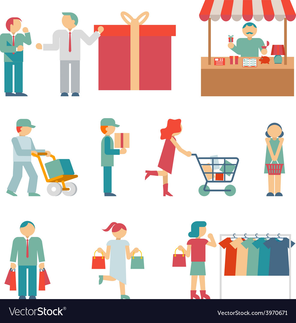 Shopping characters vector | Price: 1 Credit (USD $1)