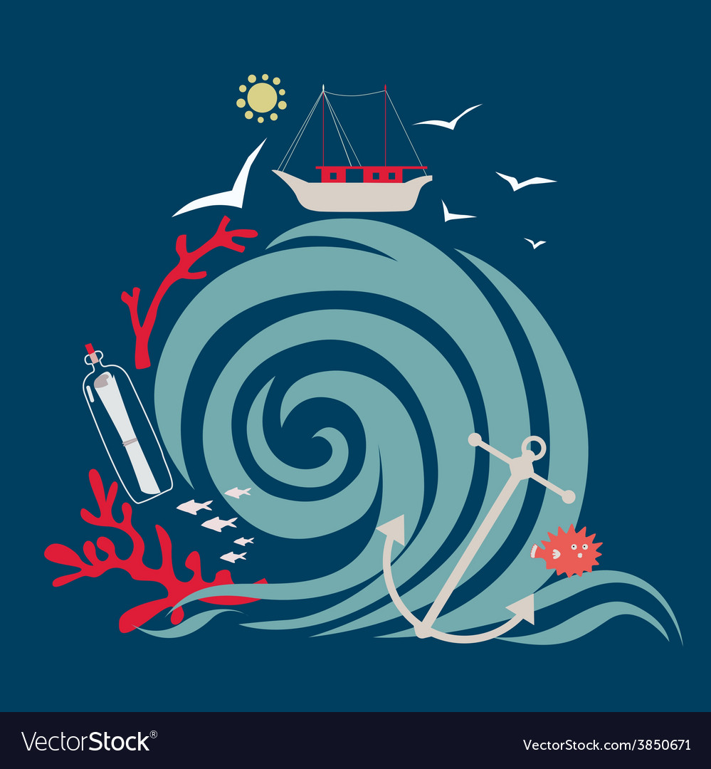 Storm wave and fishing vessel vector | Price: 1 Credit (USD $1)