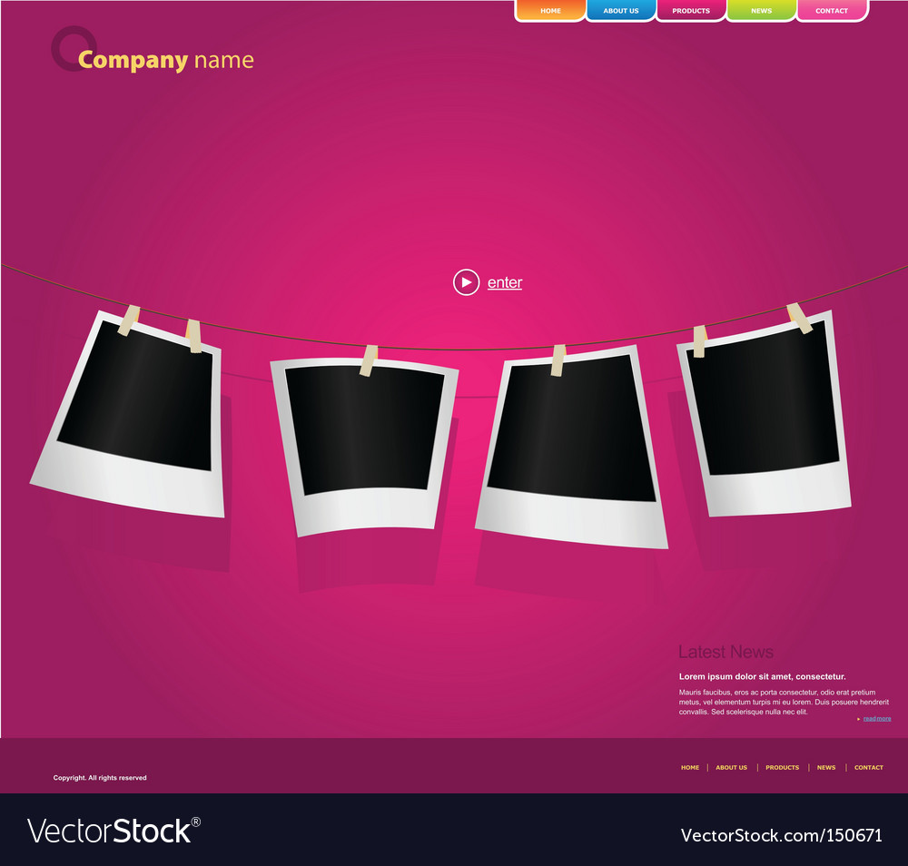 Website template with photos vector | Price: 1 Credit (USD $1)