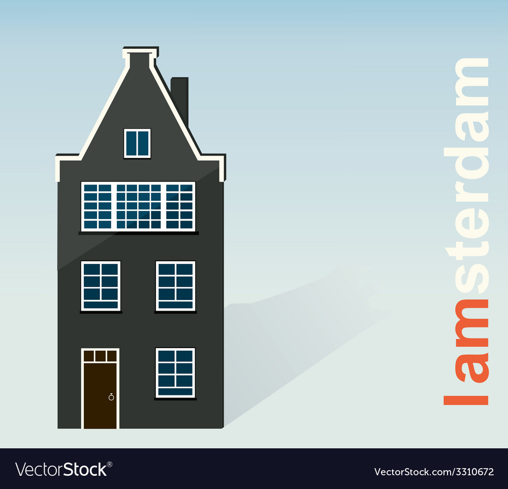Amsterdam the paper house on a light background vector | Price: 1 Credit (USD $1)