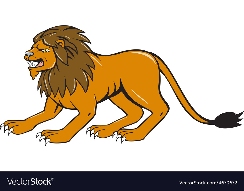 Angry lion crouching side cartoon vector   Price: 1 Credit (USD $1)