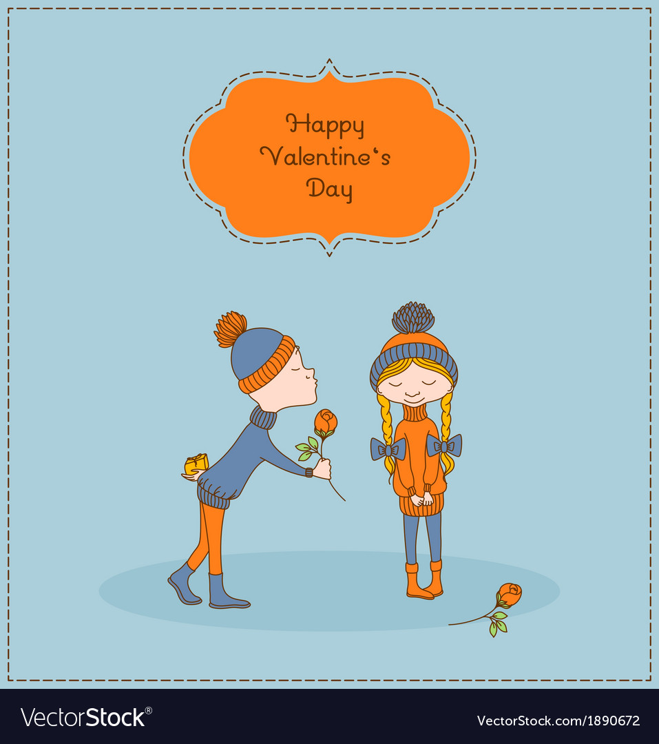 Boy gives flower to a girl valentines day vector | Price: 1 Credit (USD $1)