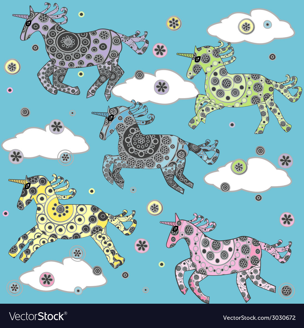 Cute background with cartoon unicorns in the vector | Price: 1 Credit (USD $1)