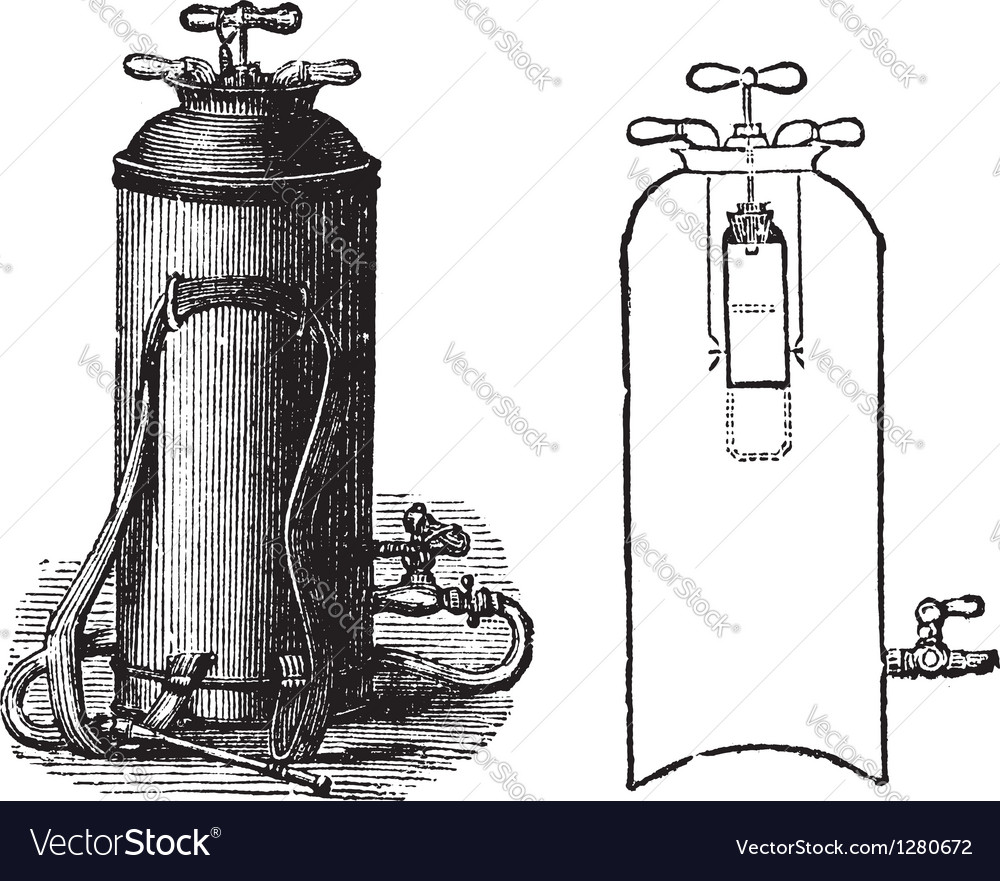 Fire extinguisher vintage engraved vector | Price: 1 Credit (USD $1)