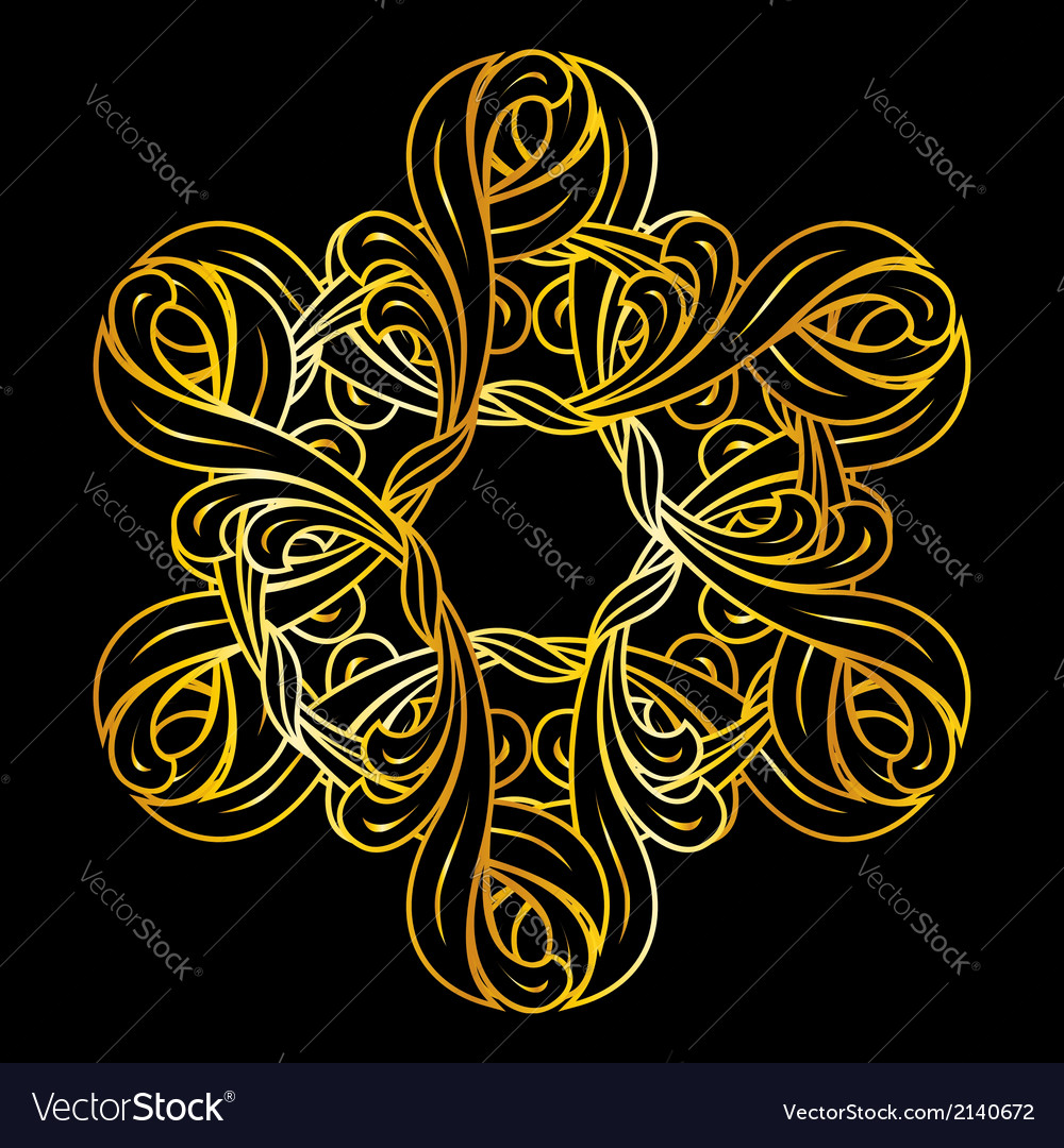 Golden floral pattern vector | Price: 1 Credit (USD $1)