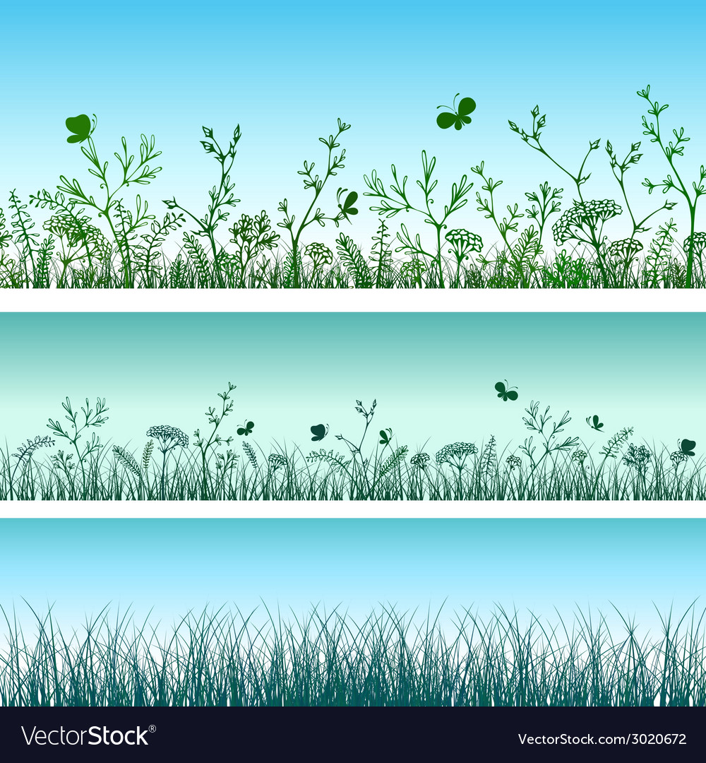 Green grass set vector | Price: 1 Credit (USD $1)