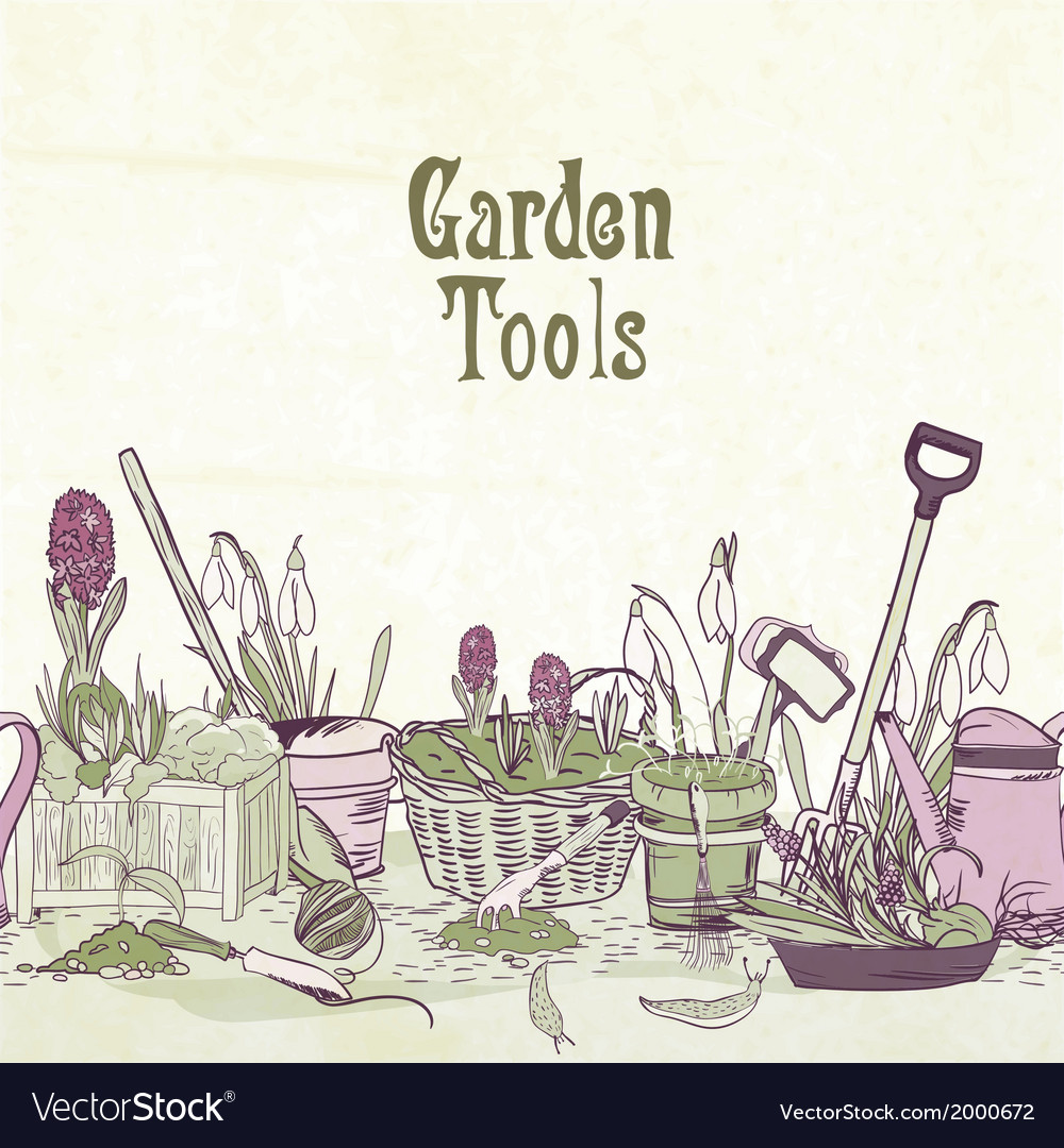 Hand drawn gardening tools frame vector | Price: 1 Credit (USD $1)