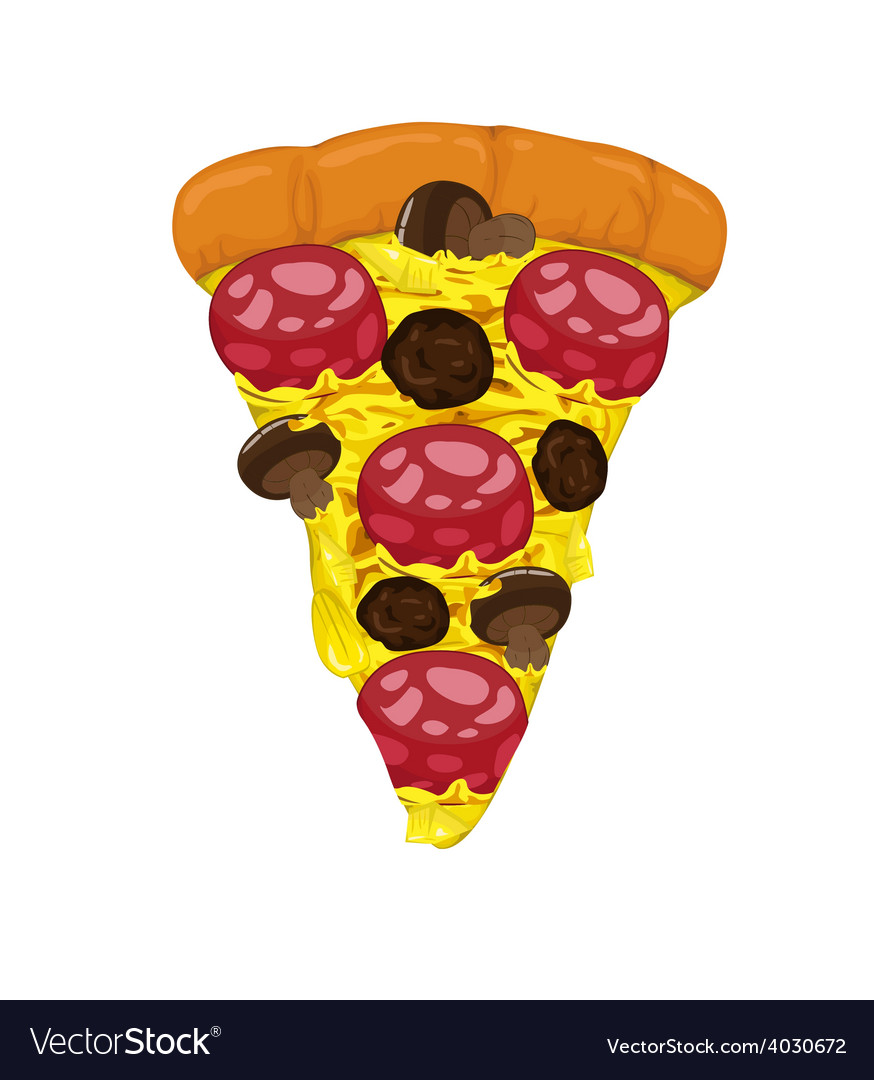 Pepperoni and meatballs on pizza slice vector | Price: 1 Credit (USD $1)
