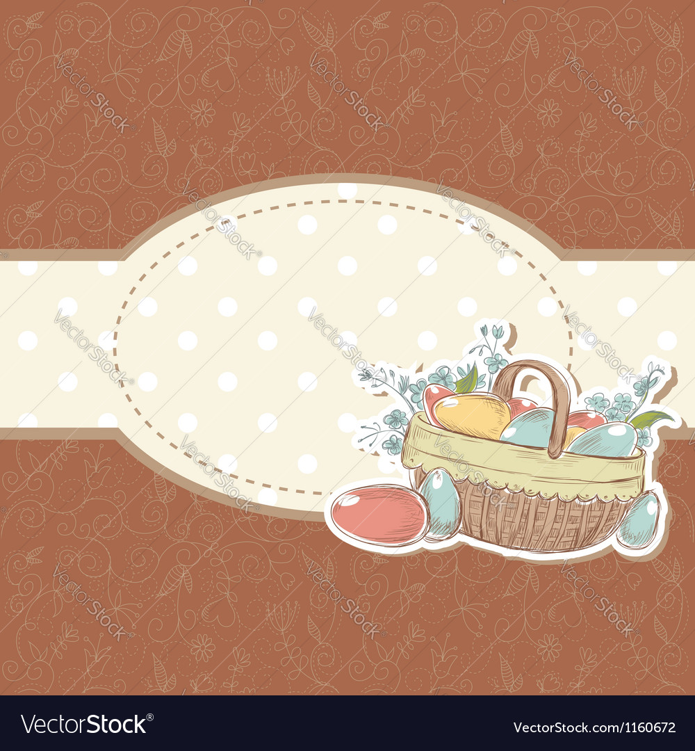 Retro styled hand drawn vintage easter card vector | Price: 1 Credit (USD $1)