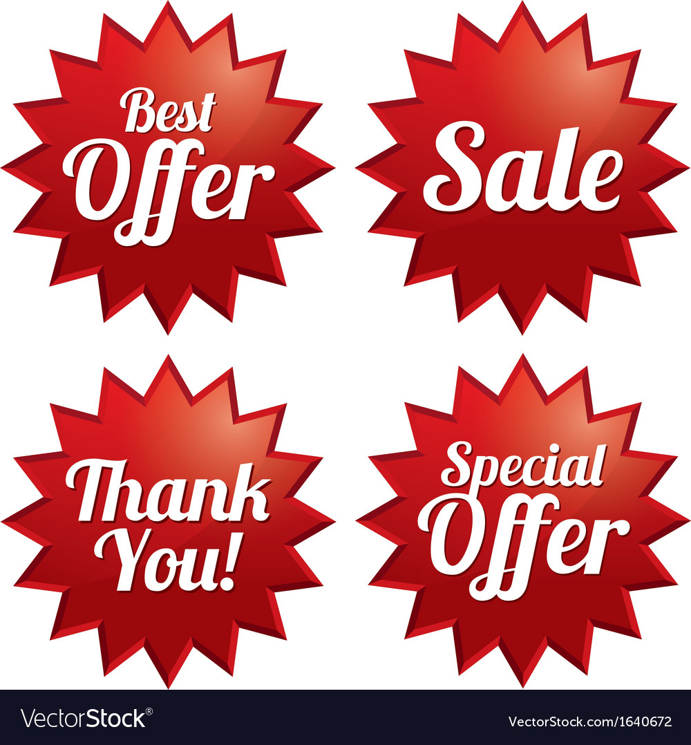 Sale best offer special offer thank you tags vector | Price: 1 Credit (USD $1)