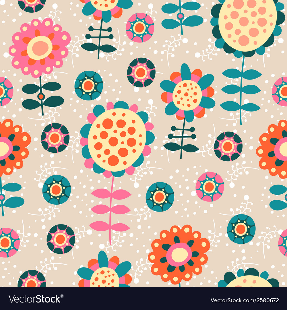 Seamless color decorative flower pattern vector   Price: 1 Credit (USD $1)