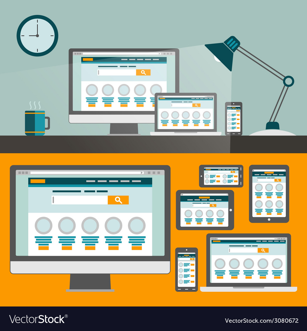 Set of flat design concepts concepts for online vector | Price: 1 Credit (USD $1)