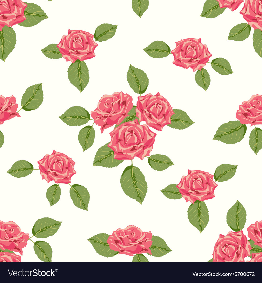 Vintage seamless pattern with roses vector | Price: 1 Credit (USD $1)