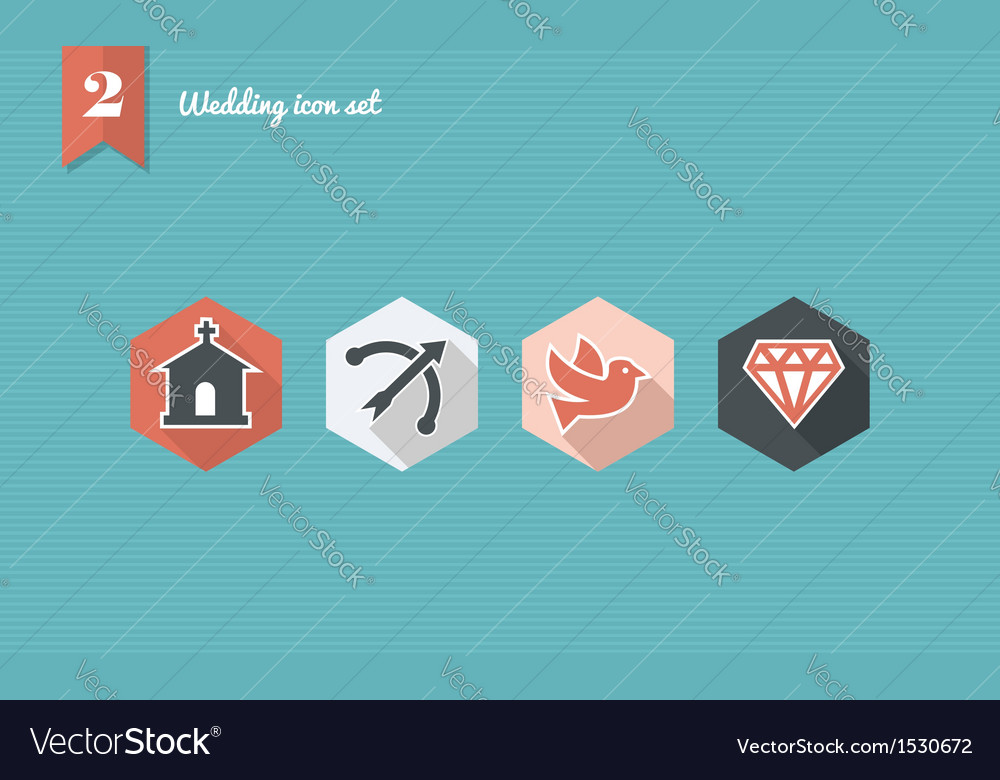 Wedding flat icon set vector | Price: 1 Credit (USD $1)