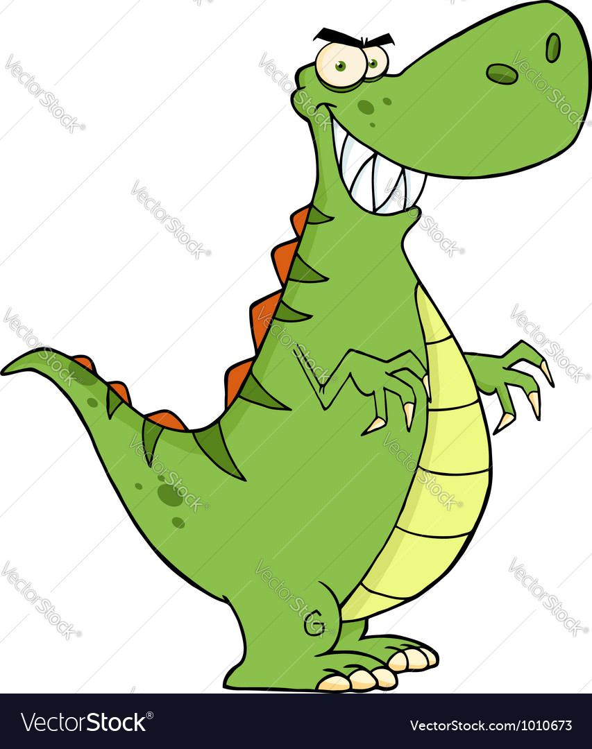 Angry dinosaur cartoon character vector | Price: 1 Credit (USD $1)