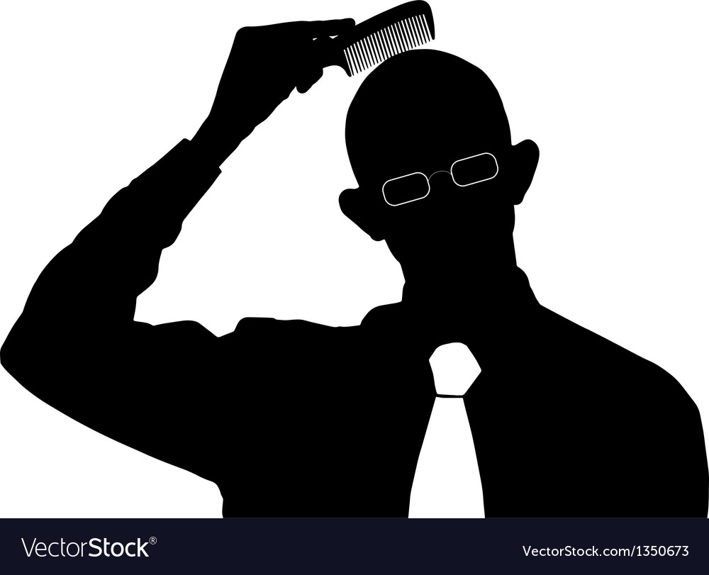Bald man comb silhouette vector | Price: 1 Credit (USD $1)