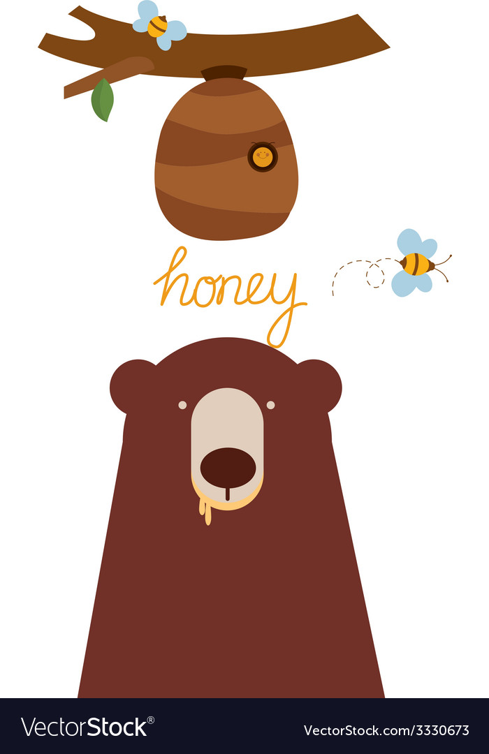 Bear and beehive vector | Price: 1 Credit (USD $1)