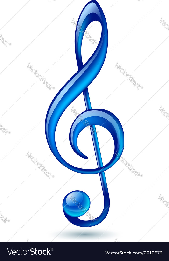 Blue treble clef vector | Price: 1 Credit (USD $1)