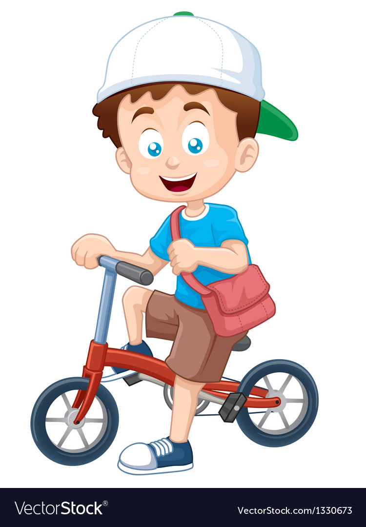 Boy on bicycle vector | Price: 3 Credit (USD $3)