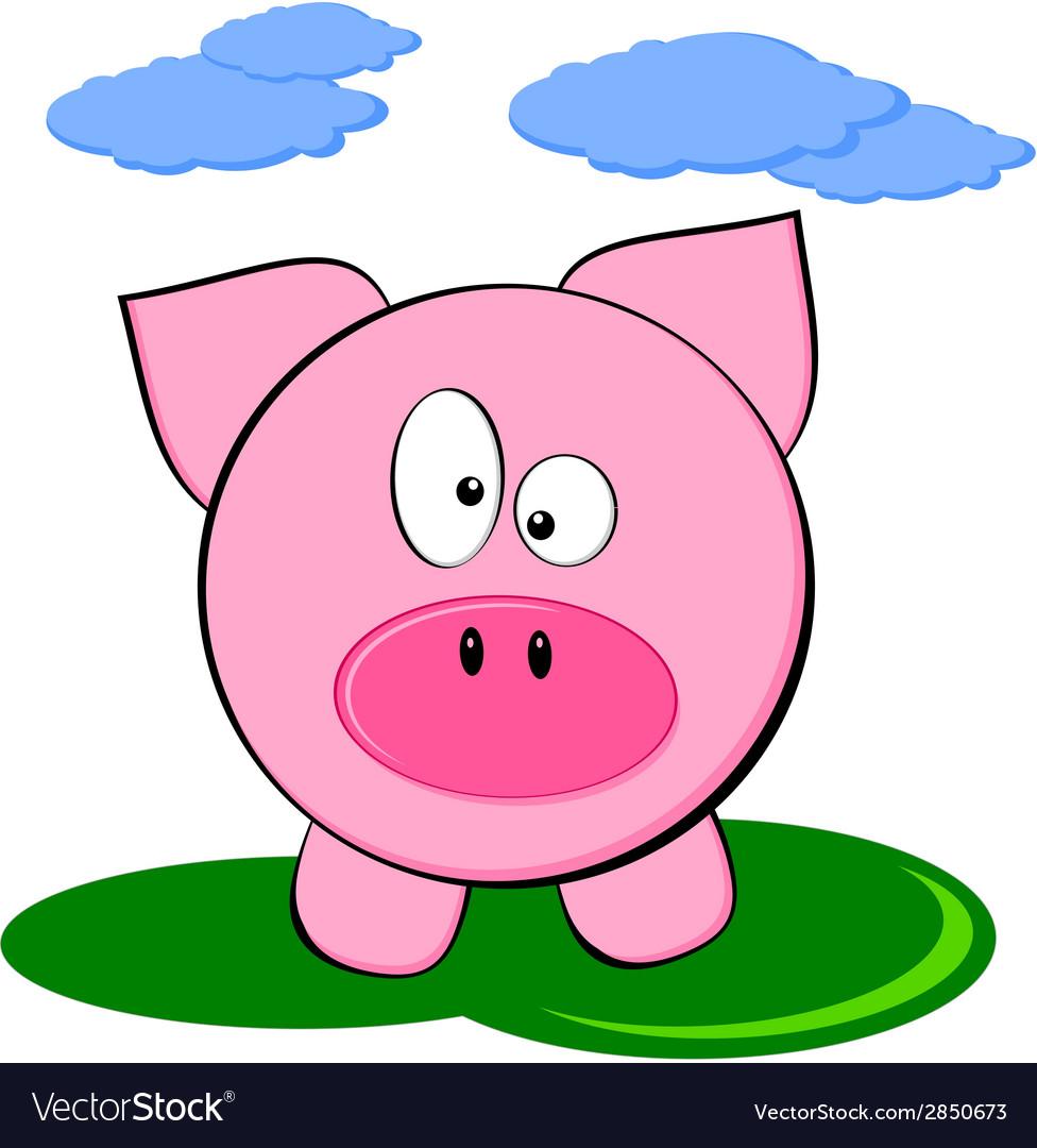 Cute cartoon pink pig - funny farm animal vector | Price: 1 Credit (USD $1)