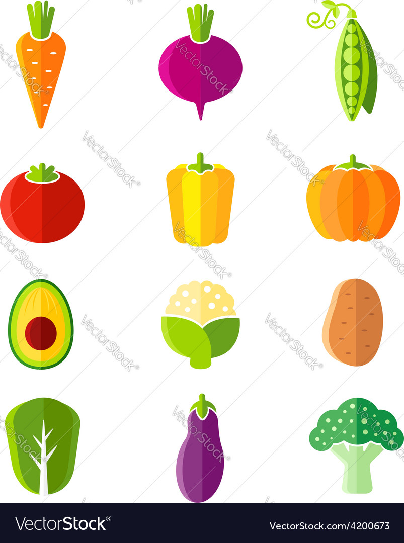 Fresh healthy vegetables flat style organic icons vector | Price: 1 Credit (USD $1)