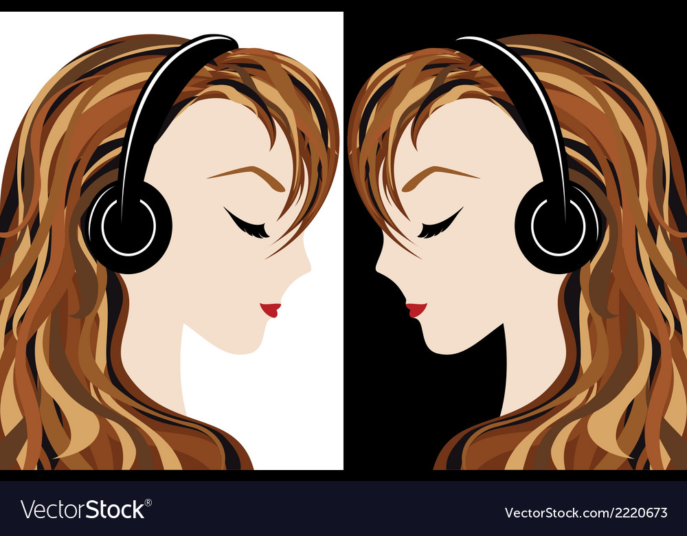 Girl listens to the music vector | Price: 1 Credit (USD $1)