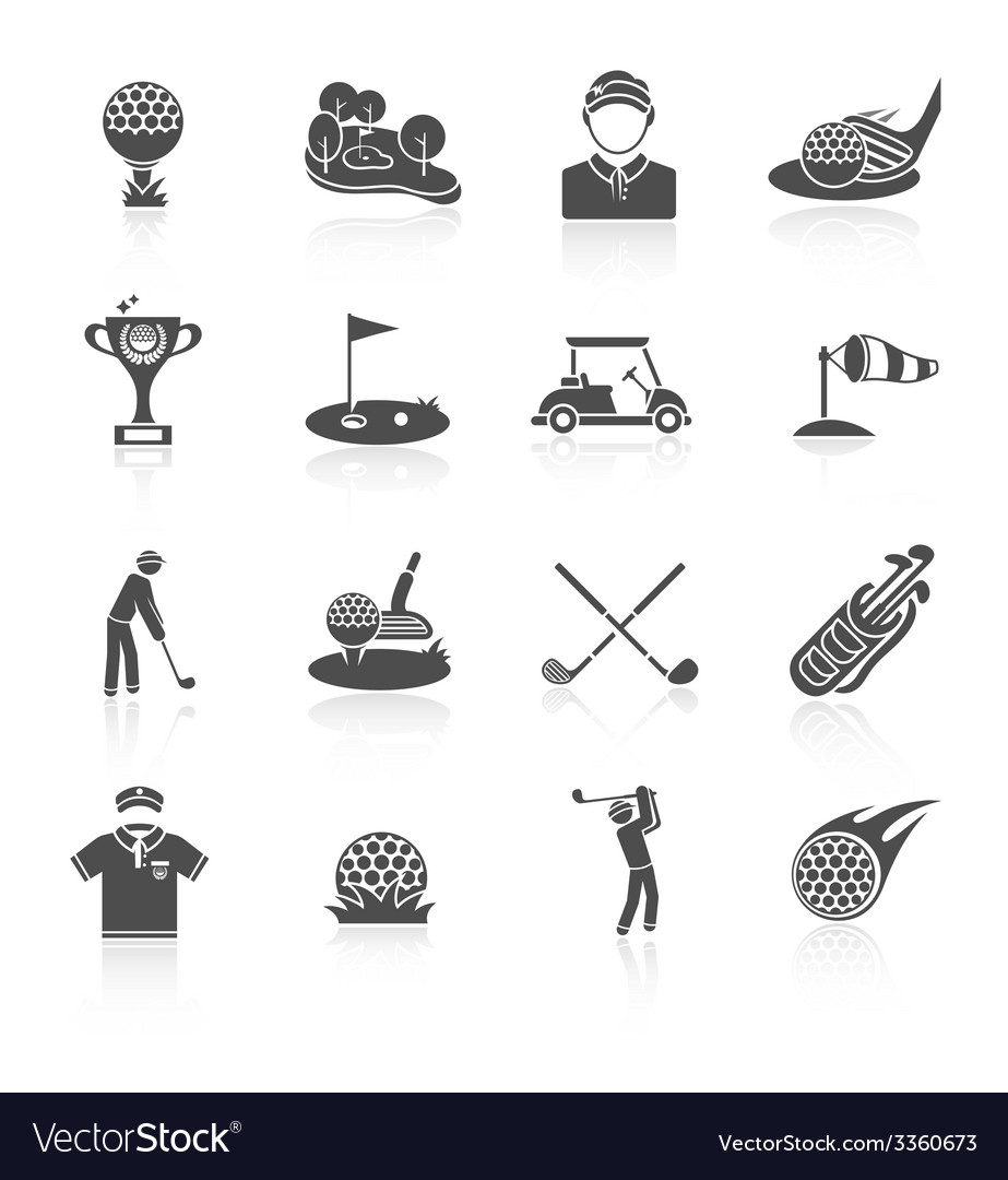 Golf icons set black vector | Price: 1 Credit (USD $1)