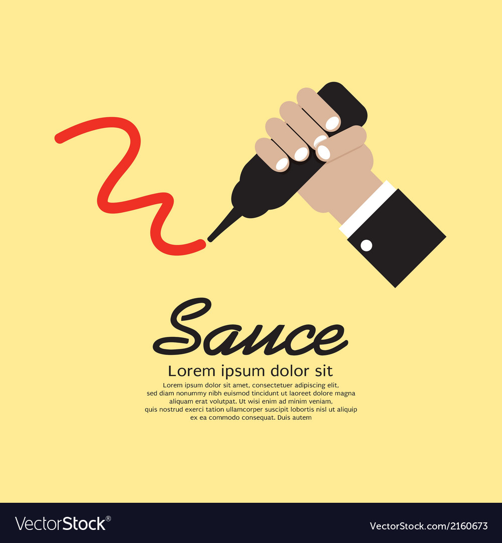 Hand squeezing a sauce bottle vector | Price: 1 Credit (USD $1)