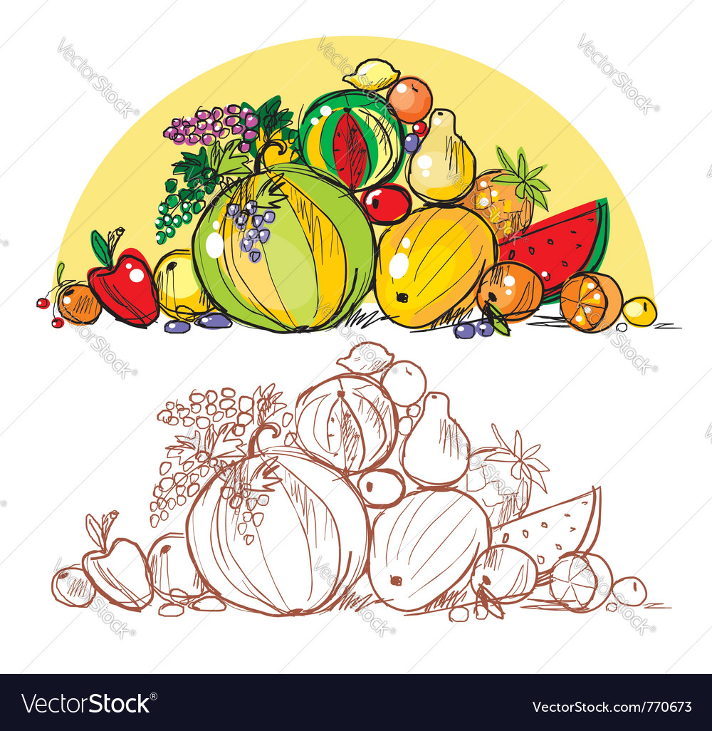 Multicoloured fresh fruit vector | Price: 1 Credit (USD $1)