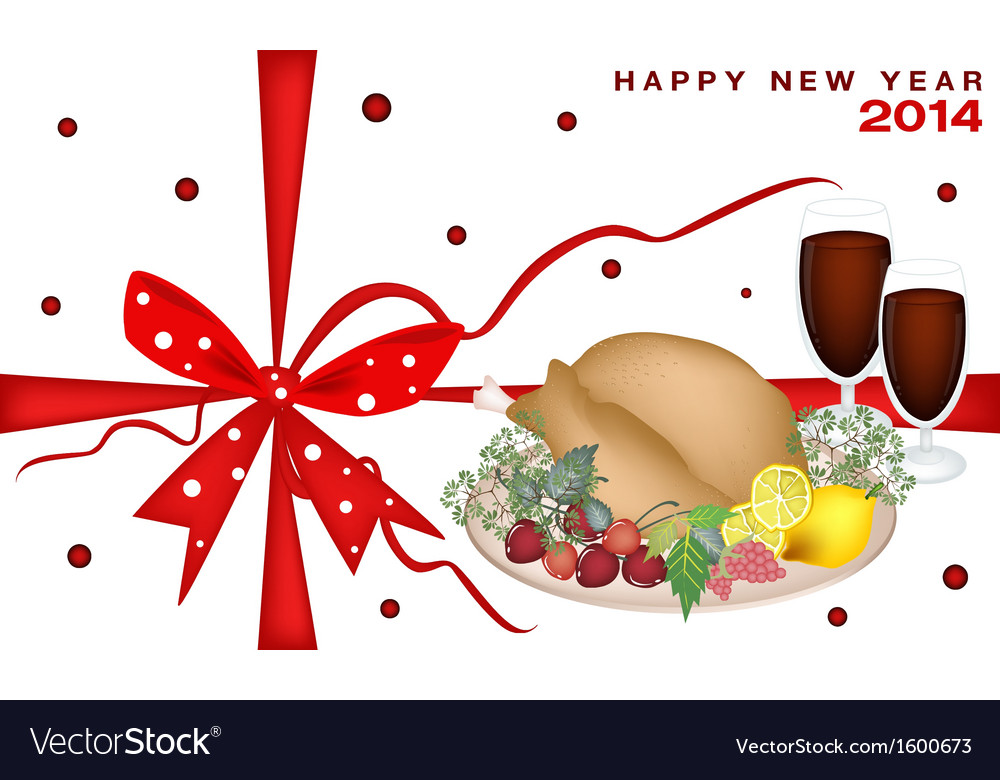 New year gift card with christmas dinner vector | Price: 1 Credit (USD $1)