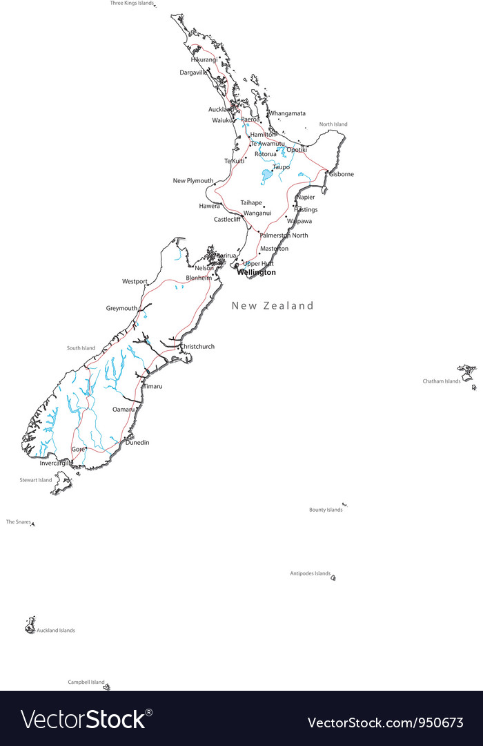 New zealand black and white map vector | Price: 1 Credit (USD $1)