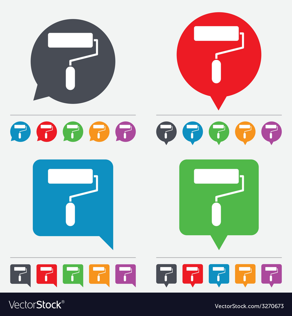Paint roller sign icon painting tool symbol vector | Price: 1 Credit (USD $1)