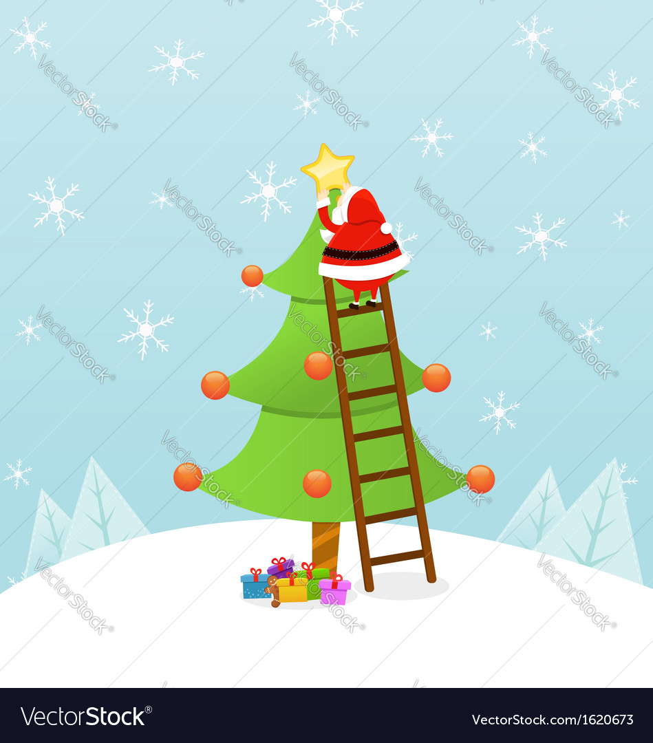 Santa decorating christmas tree vector | Price: 1 Credit (USD $1)