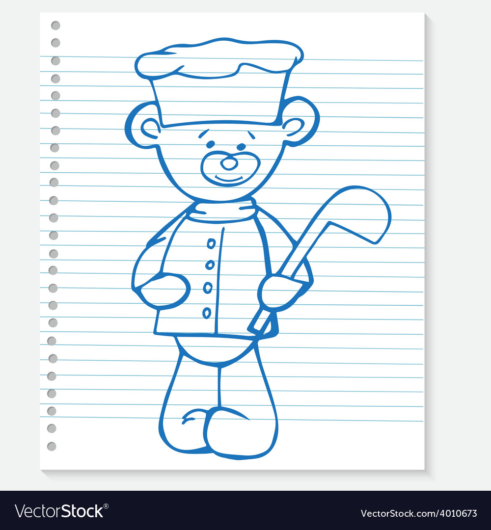 Sketch bear cook on a notebook vector | Price: 1 Credit (USD $1)