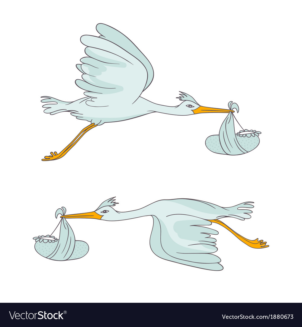 Two stork flying with children vector | Price: 1 Credit (USD $1)