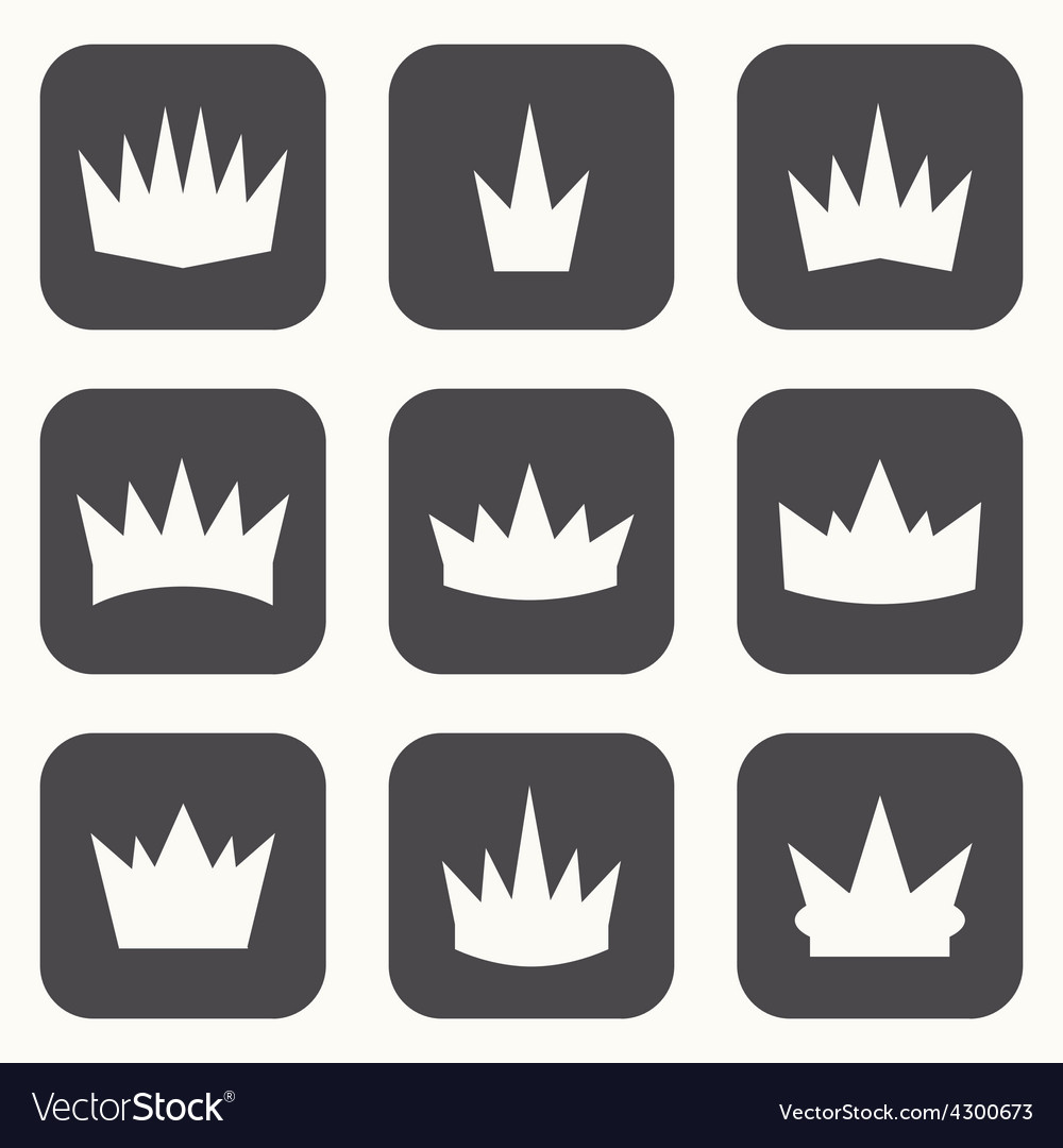 Vintage crowns icons and silhouettes vector | Price: 1 Credit (USD $1)