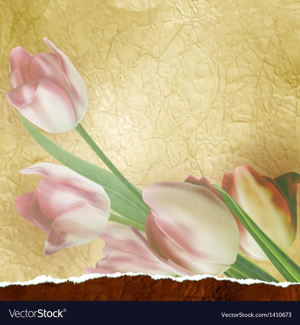 Vintage tulips polka dot template eps 10 vector | Price: 1 Credit (USD $1)