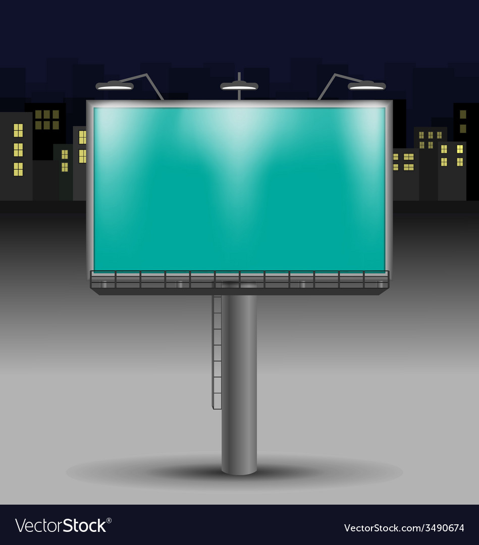 Billboard in the night city vector | Price: 1 Credit (USD $1)