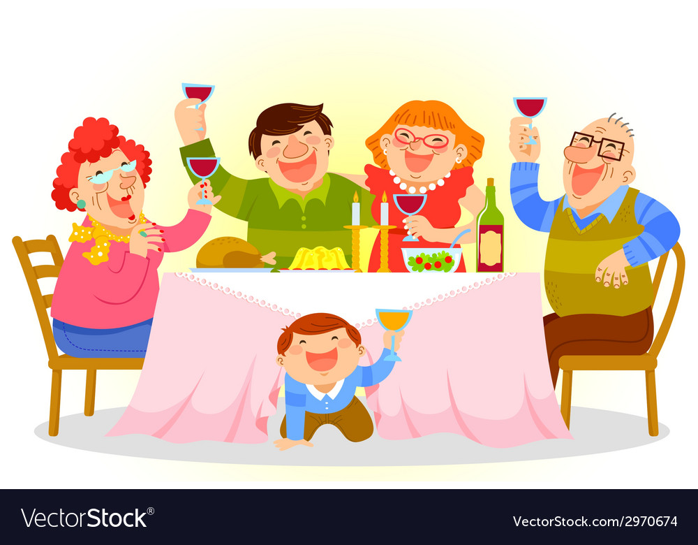 Family dinner vector | Price: 1 Credit (USD $1)